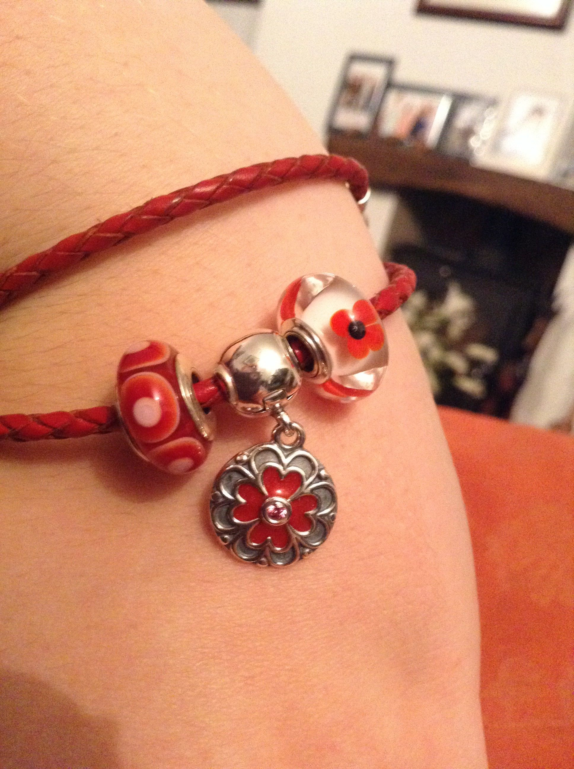 Pandora Double Leather Bracelet In Red With Remembrance Day Wild Flower Murano And