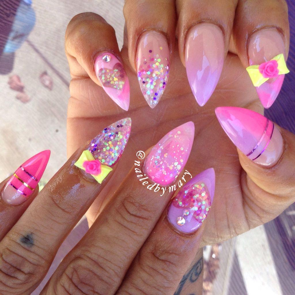 Pink purple glitter 3d nail art bow stiletto acrylic nails
