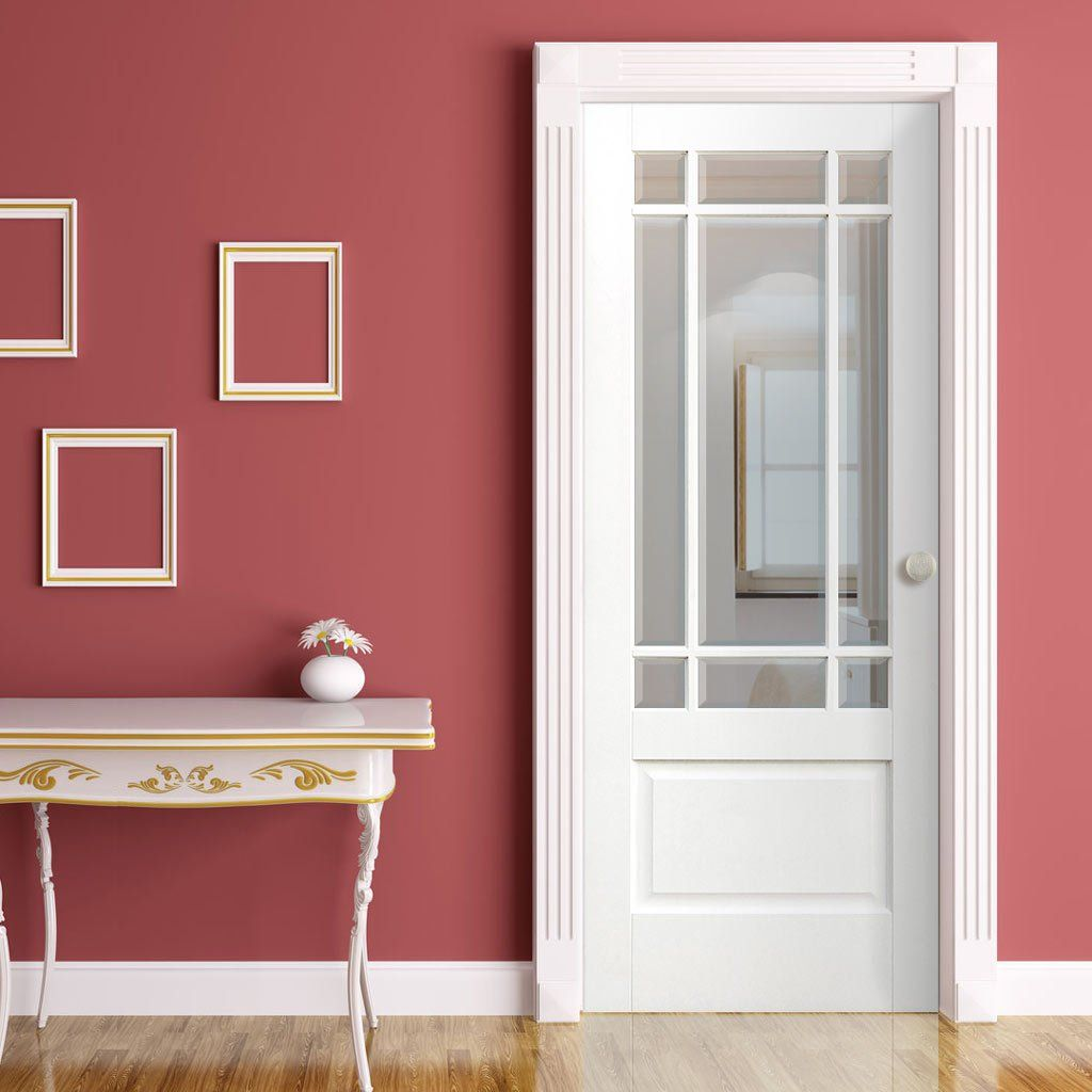 Downham white door with bevelled clear safety glass safety glass downham white door with bevelled clear safety glass planetlyrics Gallery