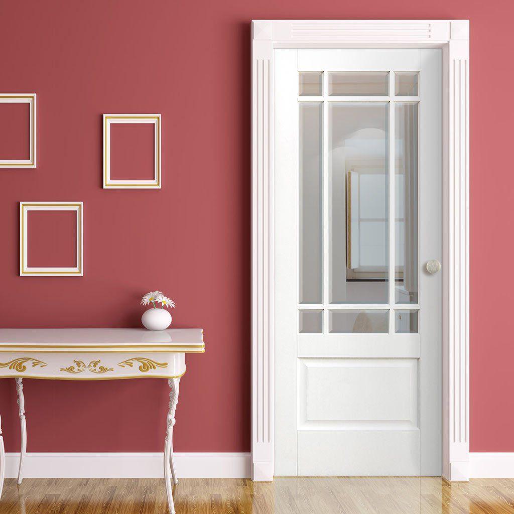 Downham Door Bevelled Clear Glass White Primed Doors