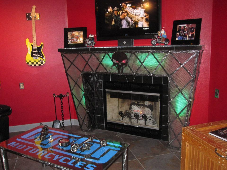 Man Cave On Facebook : Metal art fireplace mantel for the man cave check us out