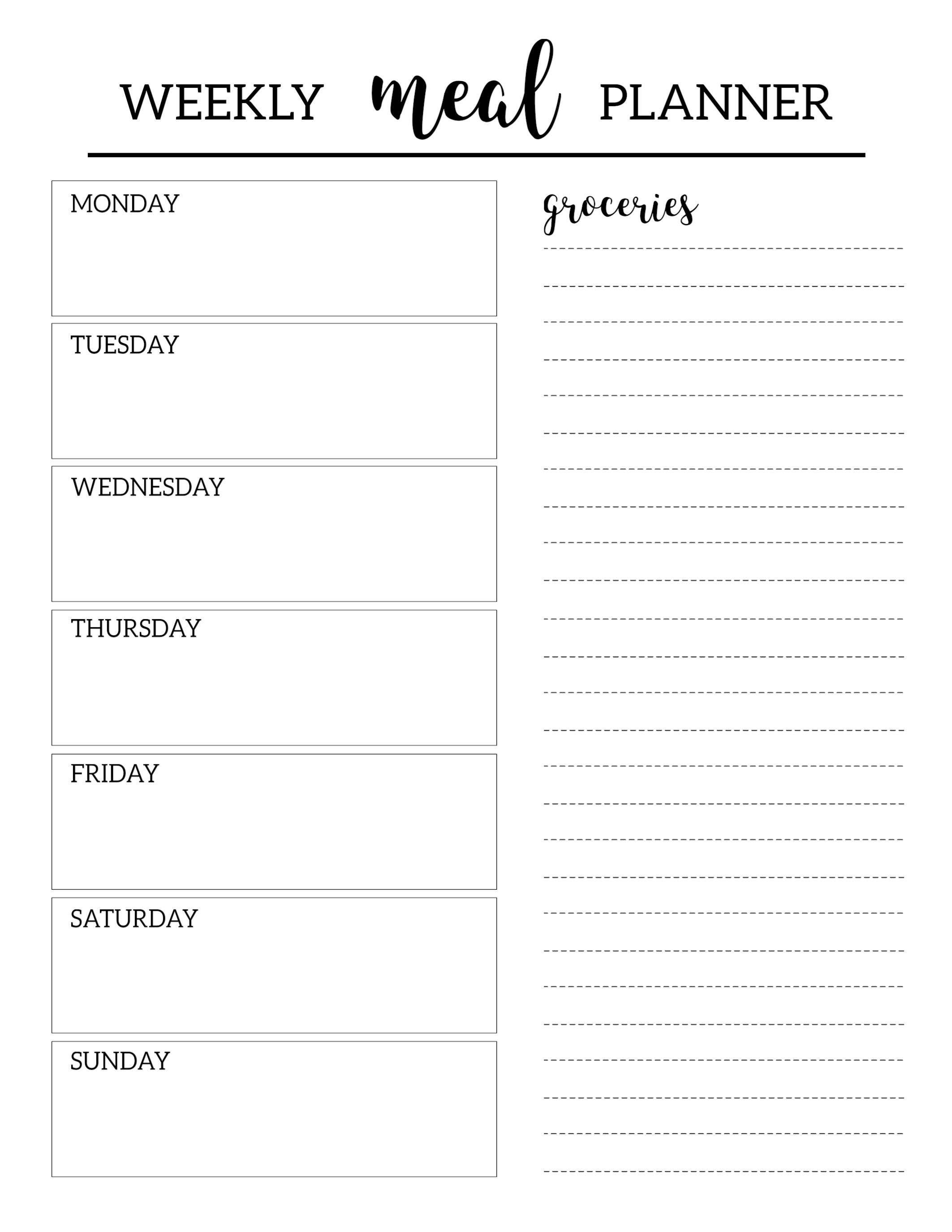 Free Printable Meal Planner Template Weekly Meal Planner
