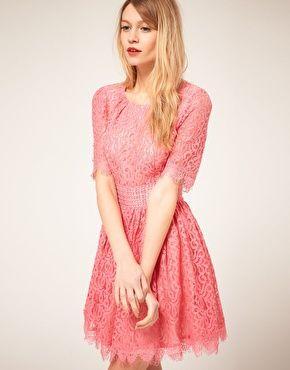 Vestidos cortos de encaje color palo de rosa