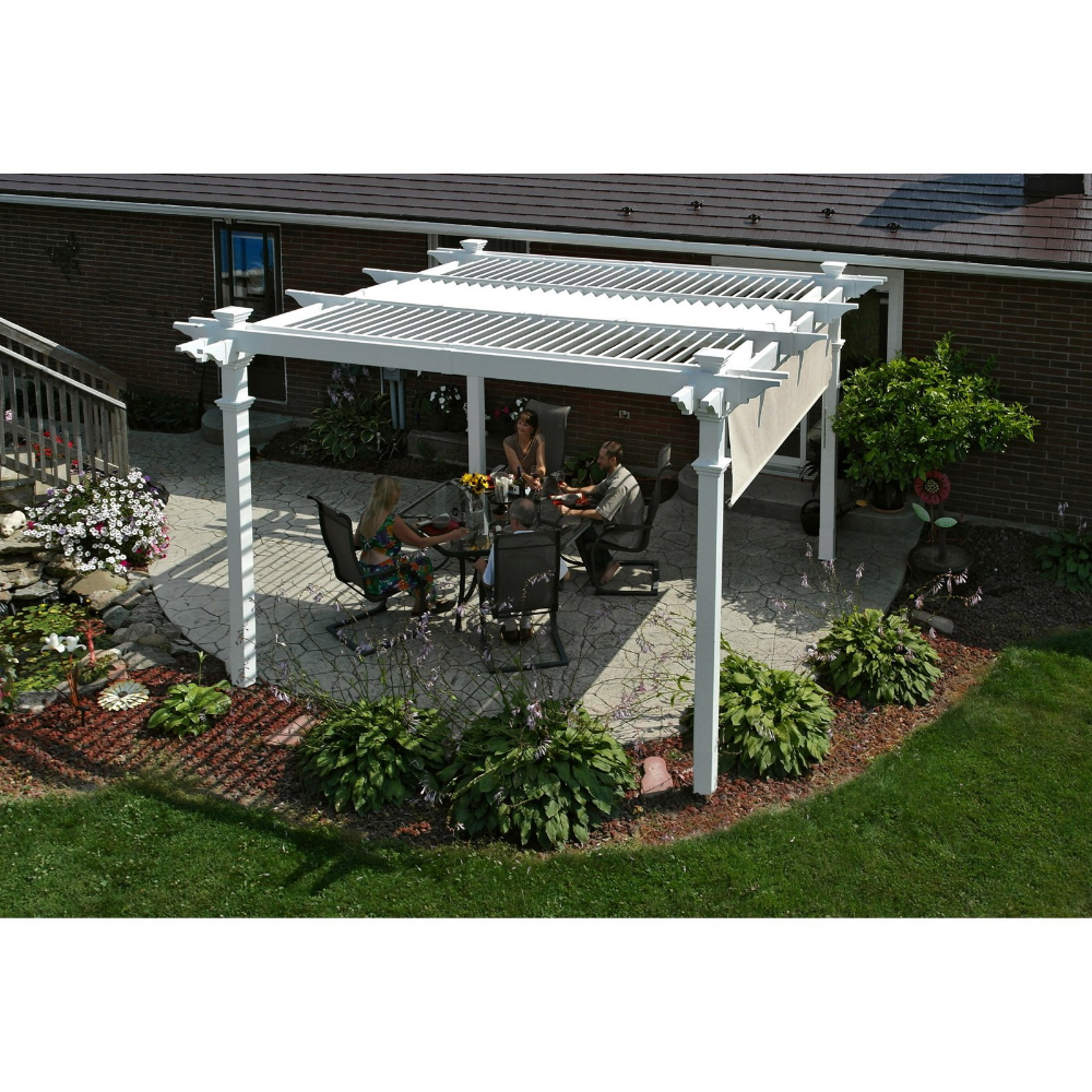 Camelot 12 X 12 Louvered Vinyl Pergola White Walmart Com Outdoor Pergola Backyard Pergola Louvered Pergola