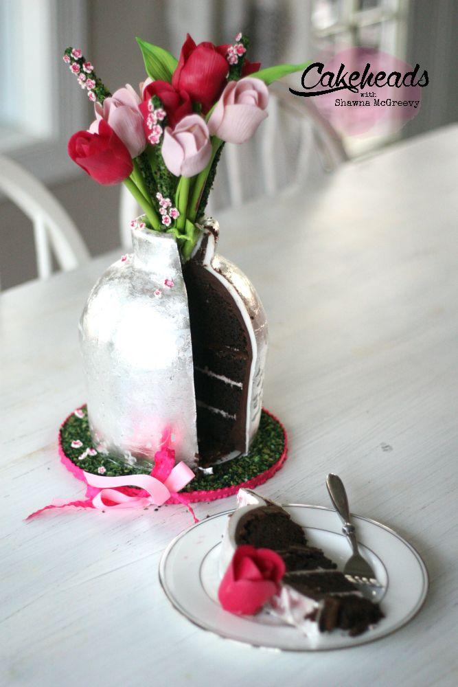 Tulips Silver Leaf Vase Cake Little Bit O Empathy Cake