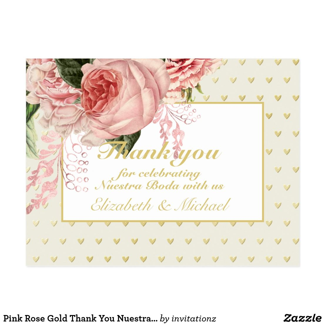 Pink rose gold thank you nuestra boda spanish wed postcard