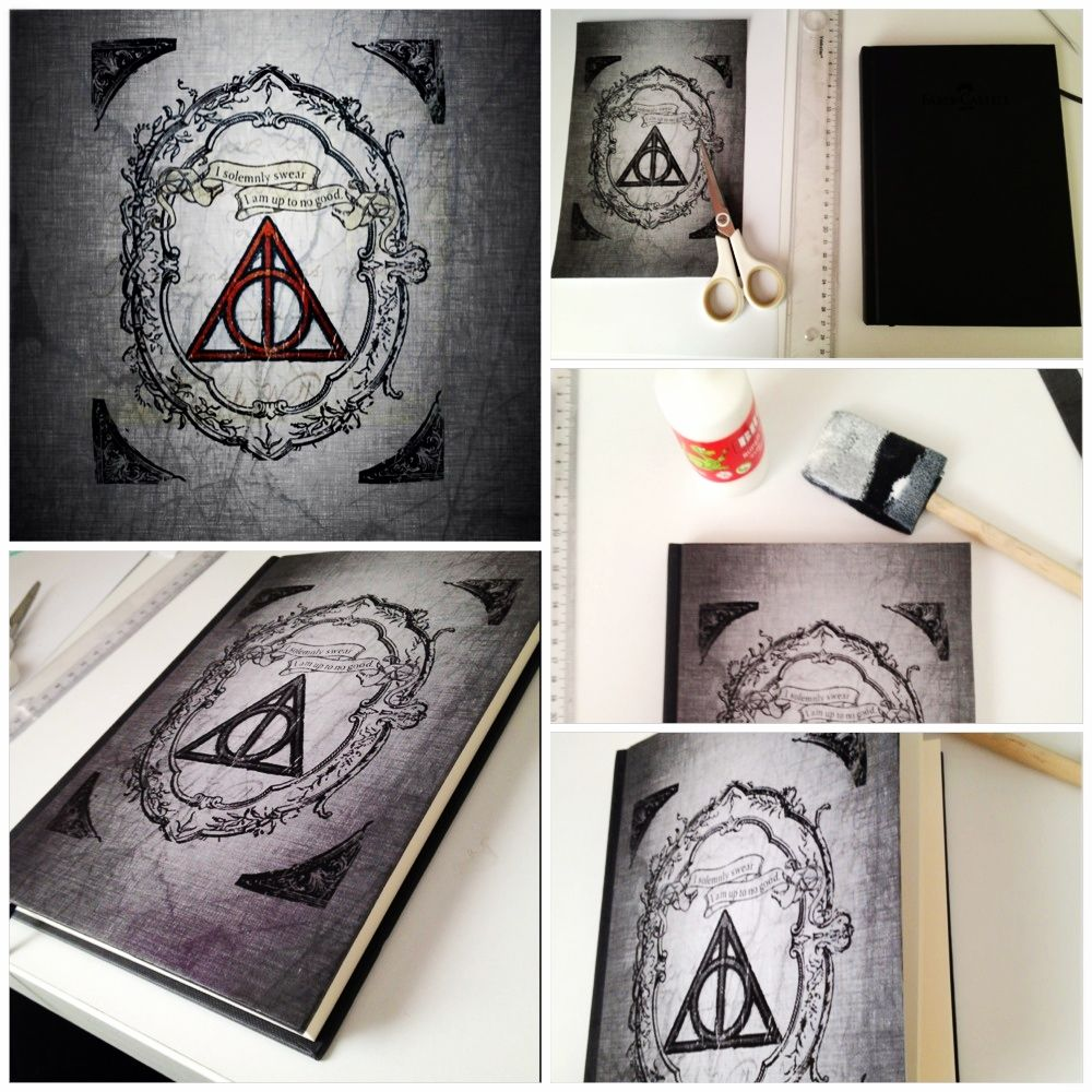 Harry Potter Book Cover Diy : Do it yourself haryy potter deathly hollows notebook diy