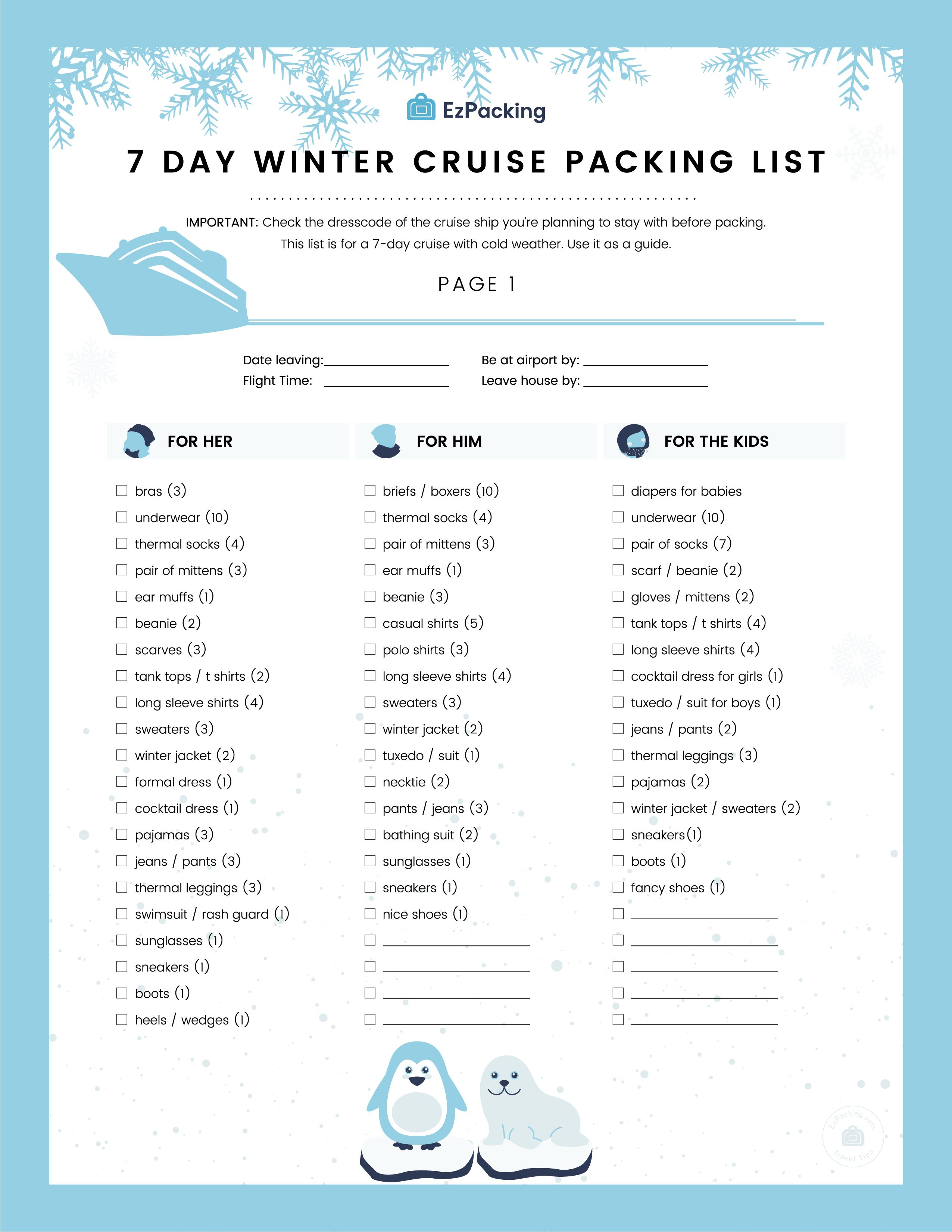 7 Day Winter Cruise Packing List | Going on an Alaskan cruise or