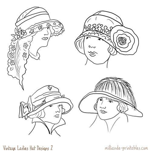Vintage Ladies Hat Designs at www.milliande-printables.com