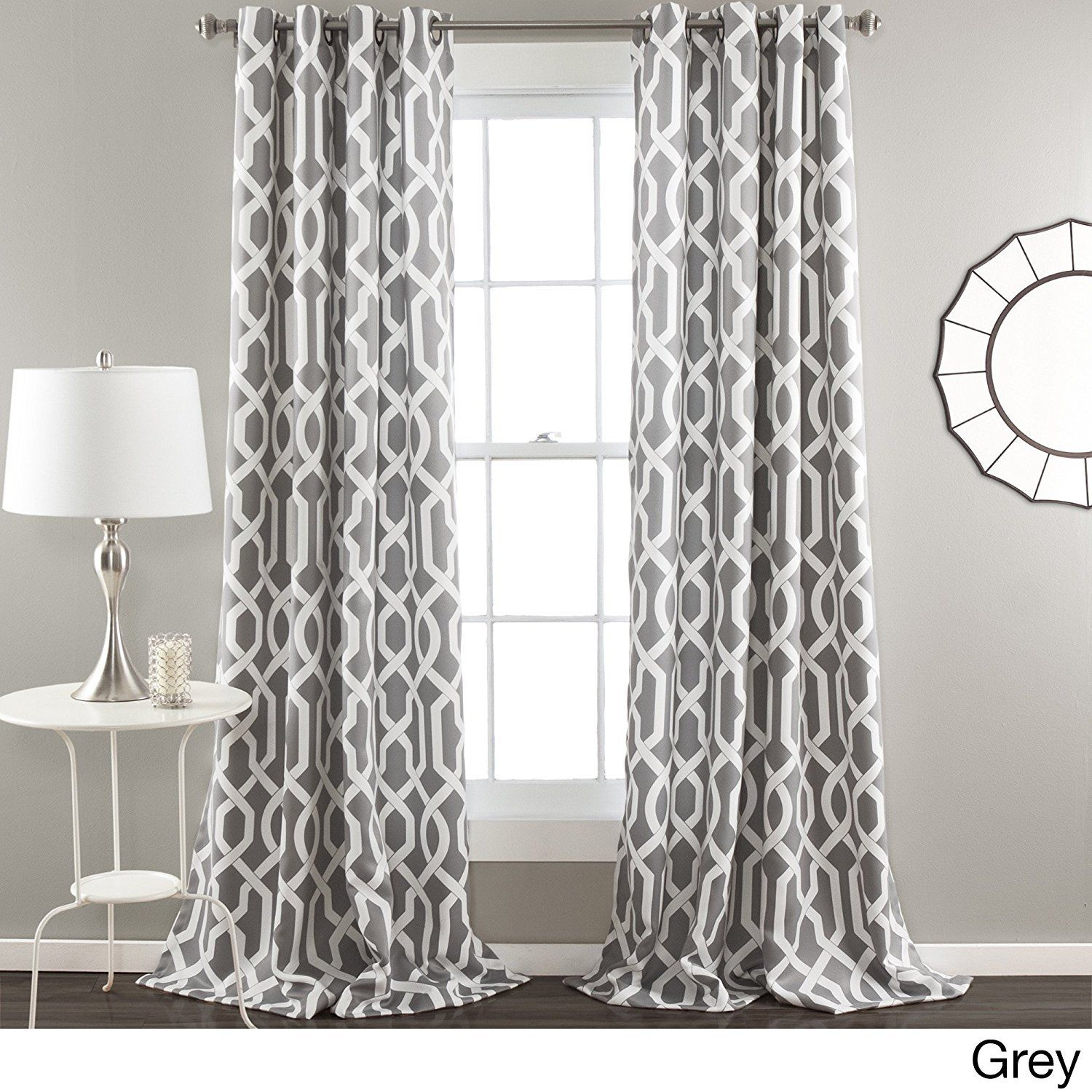 84 Inch Silver Grey White Moroccan Curtains Panel Pair Set Gray Color Drapes Medallion Geometric Trellis Pattern Window White Paneling Panel Curtains Curtains