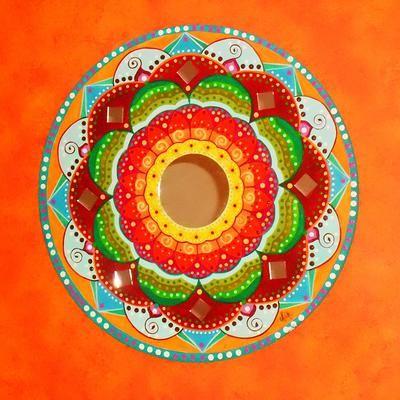 Flower mandala pintado a mano sobre placa circular de - Placa de madera ...