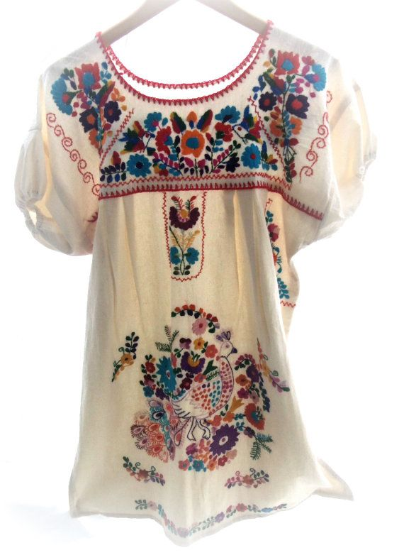 peacock mexican embroidered cotton dress