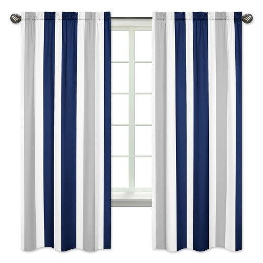 JoJo Designs Sweet Navy & Gray Striped Curtain Panels - Sweet #graystripedwalls