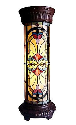 PAIR of Matching Tiffany Style Stained Cut Glass Pedestal Floor Lamps Lighting