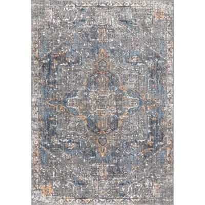 Jonathan Y Izmir Vintage Medallion Gray Mustard Turquoise 7 Ft 9 In X 10 Ft Area Rug Res101a 8 The Home Depot In 2020 Vintage Medallion Grey Area Rug Area Rugs