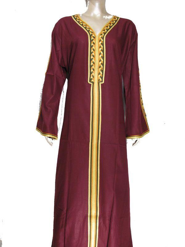 Egyptian Cotton Embroidered Galabeya Abaya Islamic Dress Violet Jilbab Kaftan