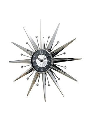 George Nelson Metal Sunray Clock Silver Black Sunburst Clock