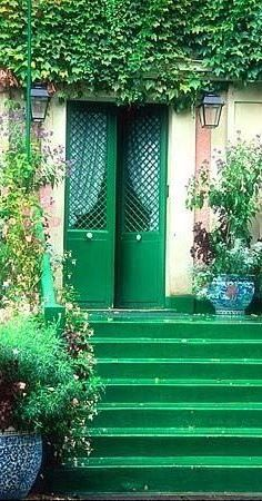 Entry to Claude Monet's home in Giverny, an hour's drive from Paris, France.