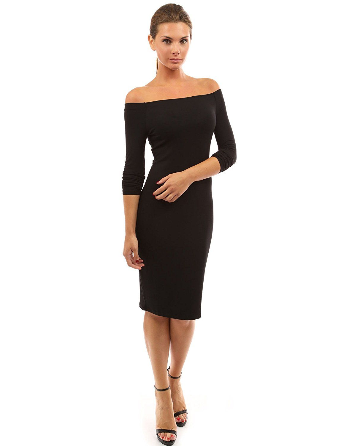 Amazon Com Pattyboutik Women 39 S Off Shoulder Long Sleeve Dress Clothing Long Sleeve Fitted Dress Black Long Sleeve Dress Classy Dress [ 1500 x 1159 Pixel ]