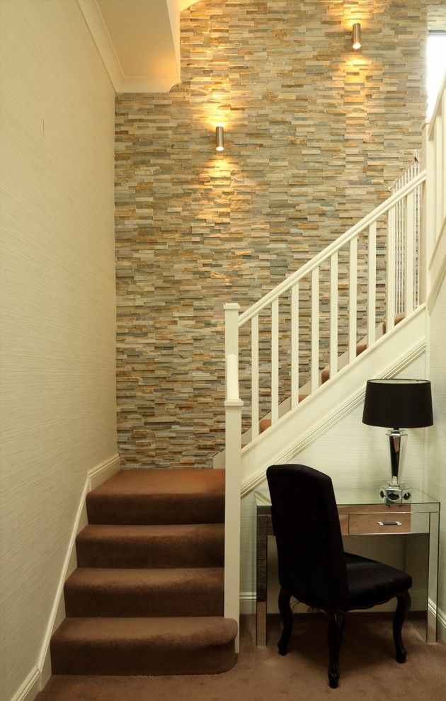 Living Room Feature Wall Designs: Painting A Feature Wall Ideas Staircase Transitional With