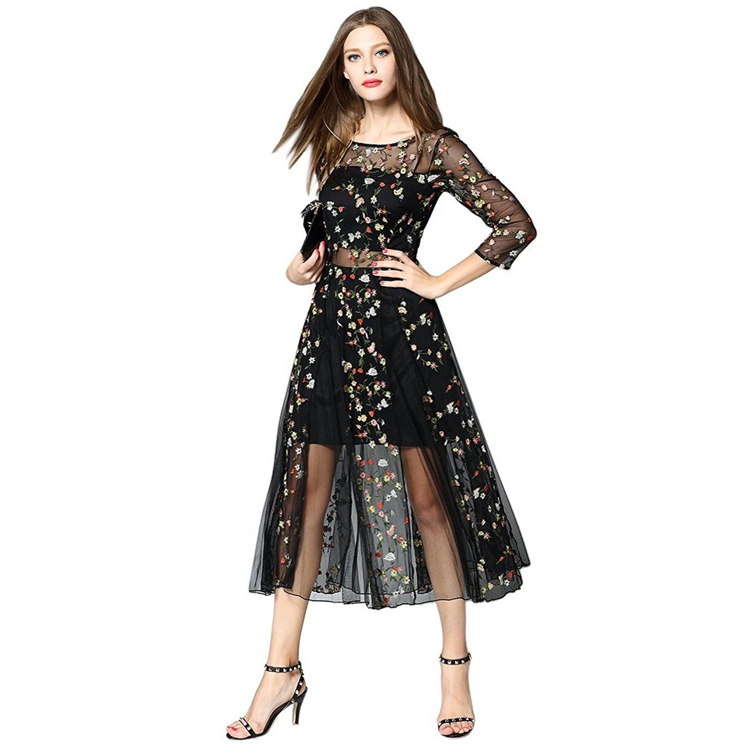Dezzal womenus floral embroidered sheer evening cocktail dress at