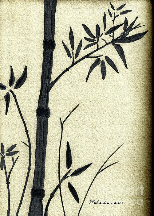 Zen Sumi Antique Bamboo 1a Black Ink on Fine Art Watercolor Paper by