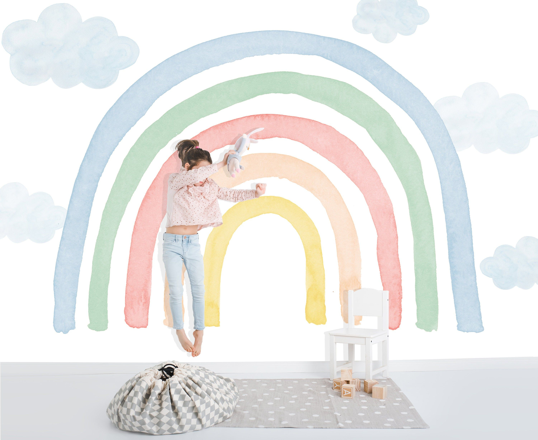 Watercolor Rainbow Wall Mural Colorful Rainbow And Raindrops Etsy Kids Room Murals Rainbow Wall Art Diy Kids Wall Murals