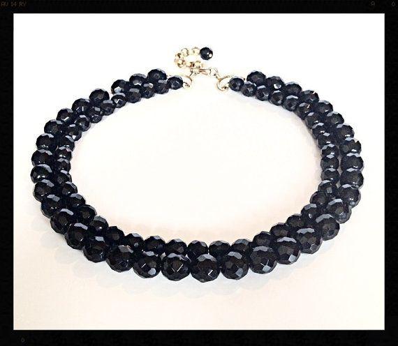 Jet Black Bead Necklace Vintage Double Strand by Rubyapplevintage