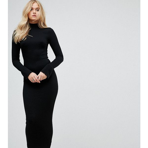 223863cc90d ASOS TALL City Maxi Rib Bodycon Dress with Polo Neck and Frill Cuffs ( 35)