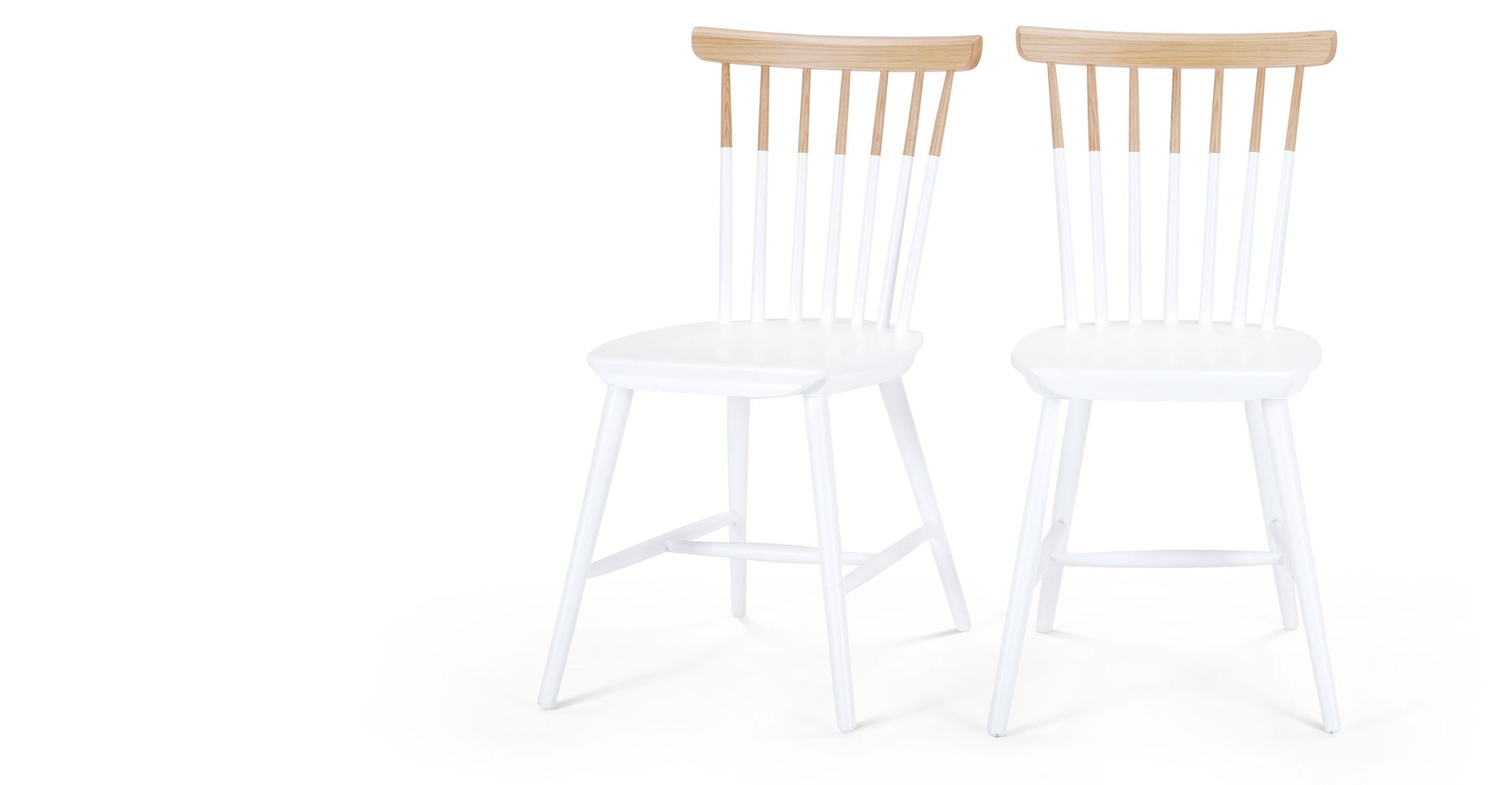 2 x Deauville Esszimmerstühle; Esche und Weiß | Eßzimmerstühle ...