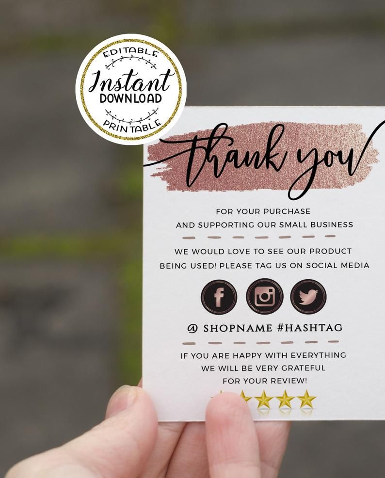 Rose Gold Modern Thank You For Your Order Cards Template Small Business Online Business Etsy Seller Business Thank You Package Insert Small Business Cards Packaging Ideas Business Business Thank You Cards