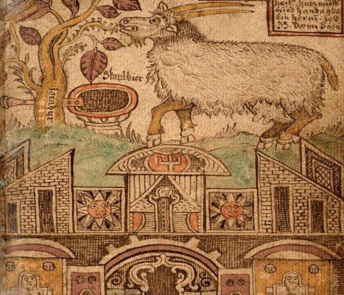 Eikthyrnir Mythical Male Deer And Heidrun SheGoat Stand