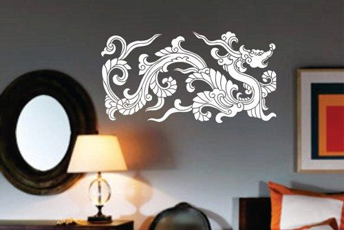 Chinese Tribal Dragon Wall Decal Sticker Mural Art Graphic Dragon Kid Boy Room Asian