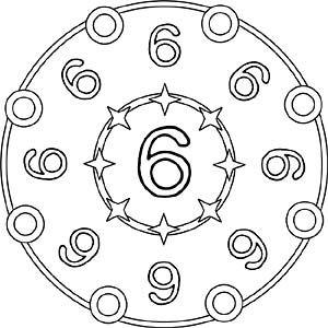 Zahlen Mandala 6 Zahl Sechs Zahlenland Unterrichten Mandala