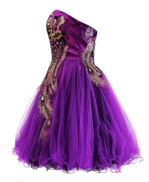 Plus Size Homecoming Dresses 2013 Short Purple Peacock Prom Party