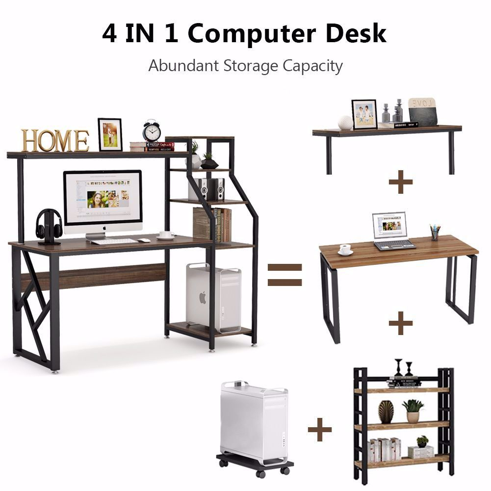 Compact Design Creates A Perfect Solution For Small Space And Maximizes Your Home Office Workspace Perfectly Rustic Office Desk Home Office Computer Desk Desk