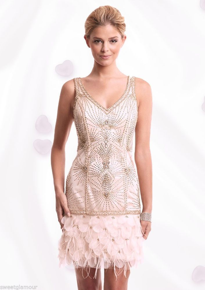 65d8b5bd37696 $545 Sue Wong Blush Beaded Petal Ostrich Feather Flapper Dress N2121 # SueWong #FeatherDress #Cocktail