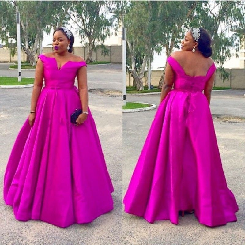 Plus size Fuchsia Evening Dresses Long Prom Wedding Party ...