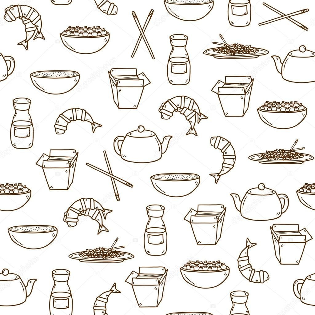 Download Seamless Modern Background With Hand Drawn Cartoon Outline Objects On Chinese Food Theme Stock Illustration 76575485 Clipart Illustrations Dessin