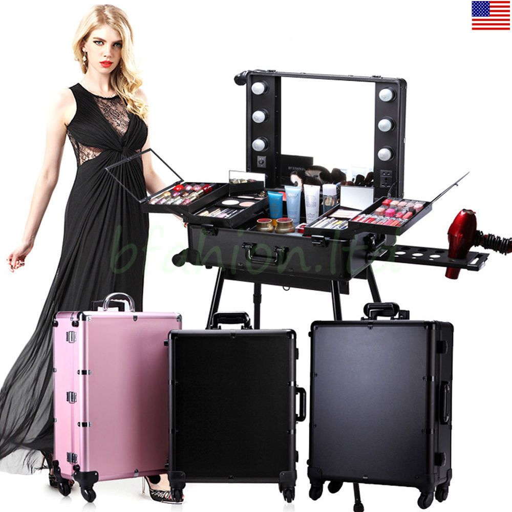 Pink/White/Black Studio Rolling Makeup Artist Cosmetic