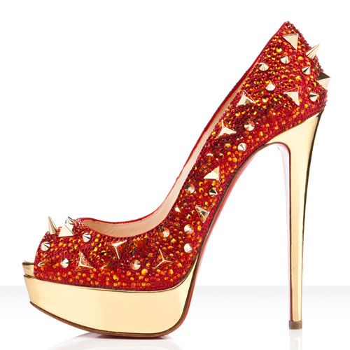 4455b1e5053 Exalted Christian Louboutin Very Mix 150mm Pumps Red Gold Red Sole Shoes  discount