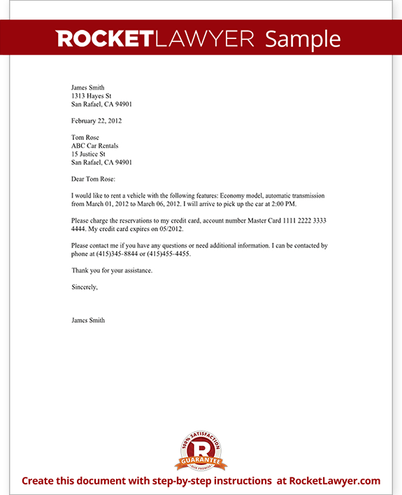 Confirmation Reservations Letter Template With Sample Sabre