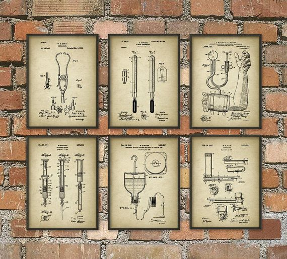 Doctor 39 S Equipment Patent Wall Art Poster Set Of 6 Stethoscope Thermometer Syringe Laryngoscope Hospital Art Print Poster Wall Art Patent Prints Beer Art
