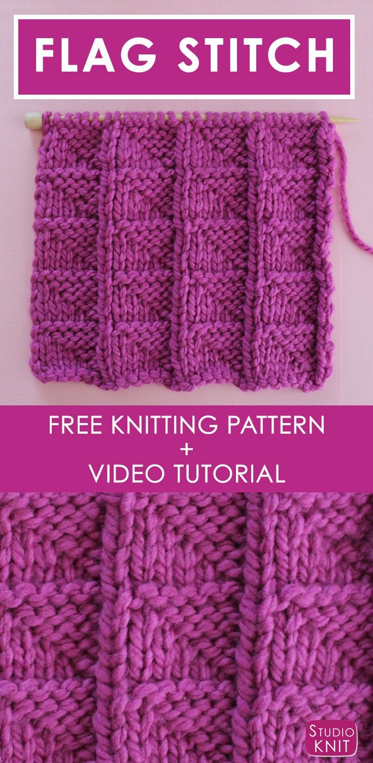 Learn How to Knit the FLAG Stitch with Free Pattern + Video ...