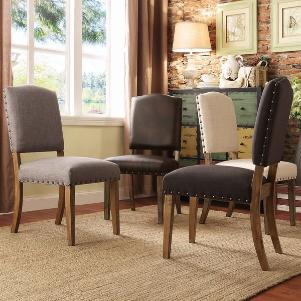 Benchwright Premium Nailhead Upholstered Dining Chairs