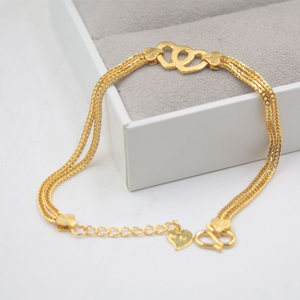 New pure k yellow gold bracelet womanus lucky wheat link heart