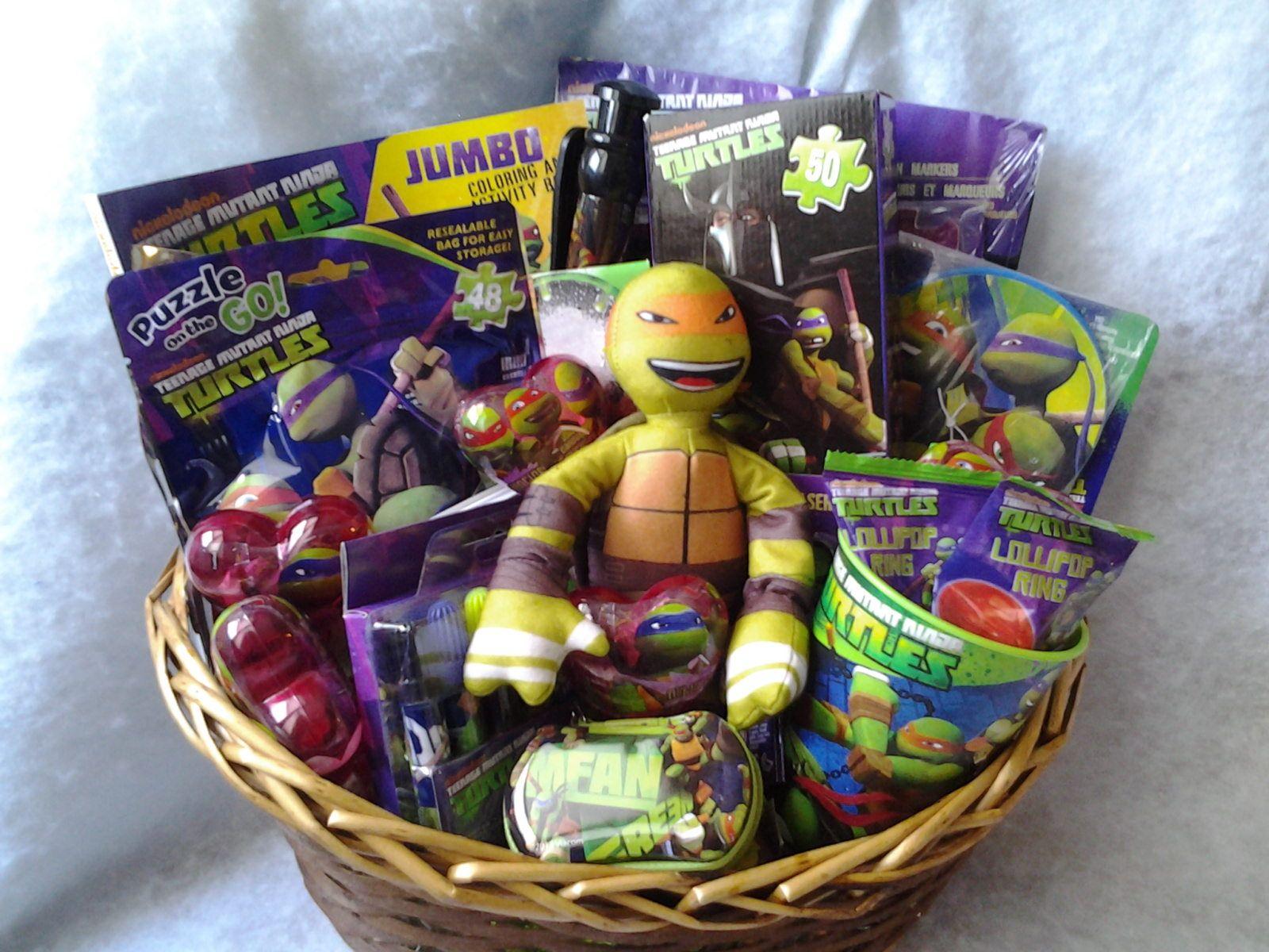 Teenage Mutant Ninja Turtles Gift Basket From Connie S Creations Teenage Mutant Ninja Turtles Gifts Ninja Turtles Gifts Themed Gift Baskets