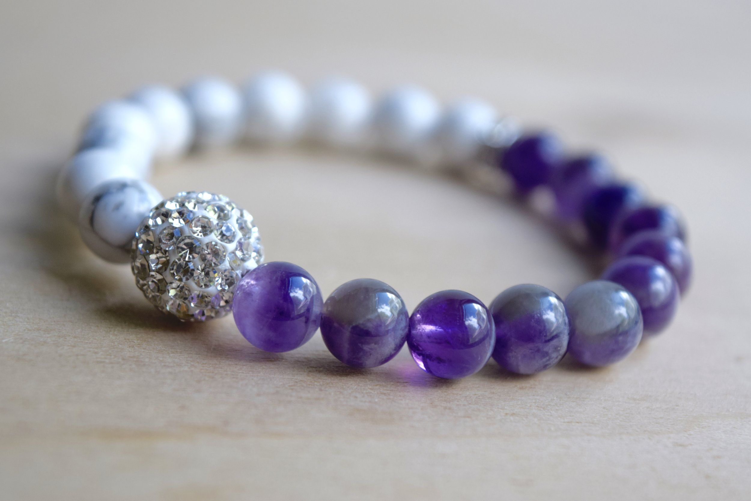 CALM AND PROTECTED // Howlite and Amethyst Meditation Bracelet with Rhinestone Accent Beads ? click the picture to purchase on www.mumblesandthings.com