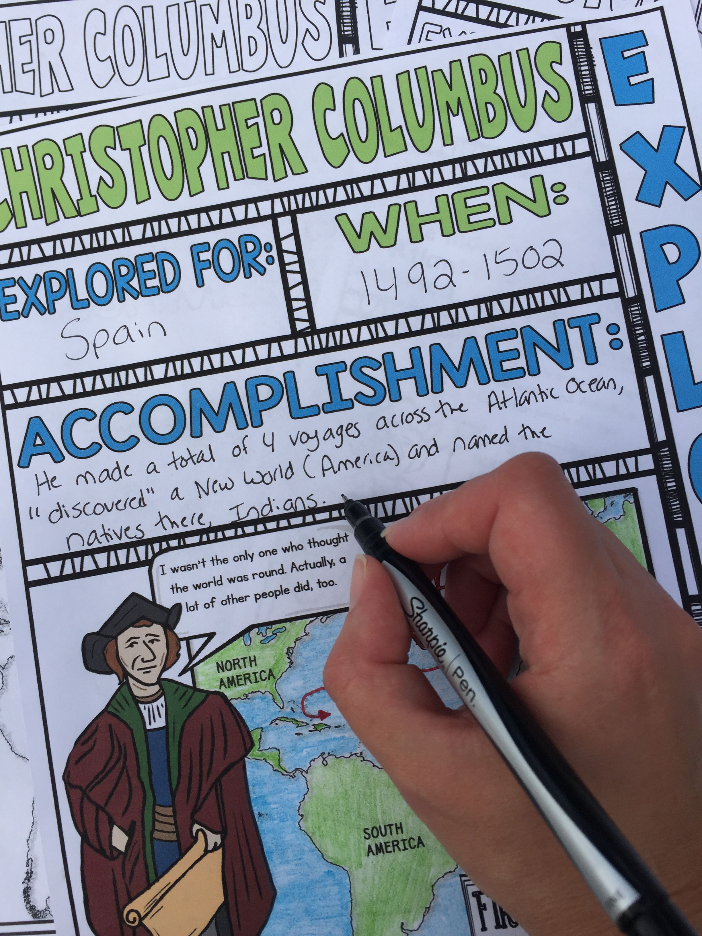 Age Of Exploration Christopher Columbus Doodle Notes
