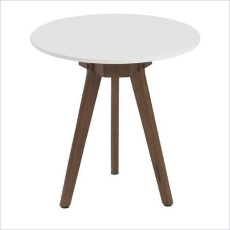 $110 Eurostyle Triage Small Side Table in White and Dark Walnut-Small - Walmart.com